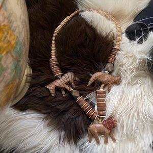 African Wild Big Cat Safari Animal Wooden Necklace